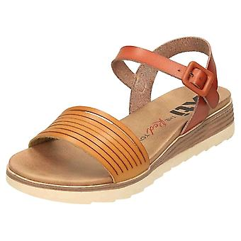 XTI Slingback Low Wedge Sandals 49846 Brown