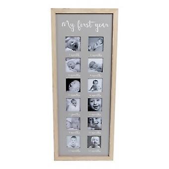 "Wall photo list "" My First Year"" Grey"
