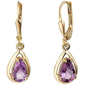 Amethyst drop boutons 333 Gold Yellow Gold 2 Amethyst earrings