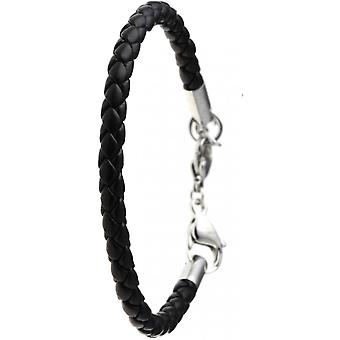 Black leather fa on bracelet for beaded charms by SC Crystal SB064-NOIR