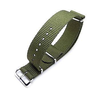 Strapcode n.a.t.o watch strap miltat 24mm g10 military watch strap ballistic nylon armband, polished - forest green