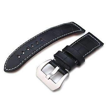 Strapcode crocodile grain watch strap 24mm crococalf (croco grain) matte black watch strap with grey stitches