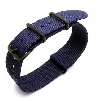 Strapcode n.a.t.o watch strap 18mm, 20mm or 22mm heat sealed heavy nylon pvd black buckle - navy blue