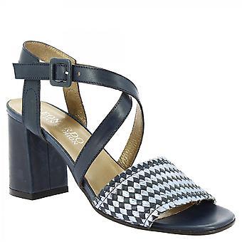 Leonardo Scarpe Donne's tacchi fatti a mano sandali in pelle di vitello blu tessuto