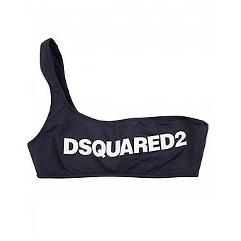Dsquared2 One Shoulder Logo Bikini Top
