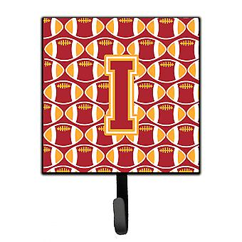 Letter I Football Cardinal and Gold Leash or Key Holder