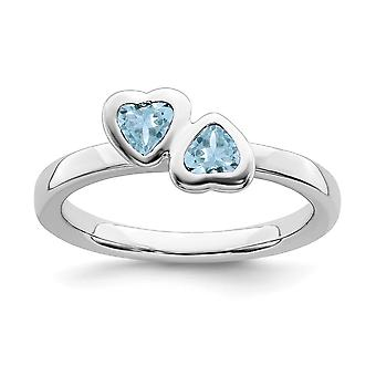 925 Sterling Silver Bezel Polished Rhodium plated Stackable Expressions Aquamarine Double Love Heart Ring Jewelry Gifts