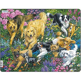 Larsen Jigsaw Puzzle - Dogs In A Field With Flowers, 32 Piece