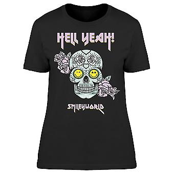 SmileyWorld Hell Yeah Skull With Flowers Women's T-shirt