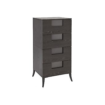 Gillmore Slim Four Drawer Chest In Dark Charcoal Wood With Gun Metal Legs