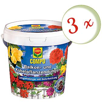Sparset: 3 x COMPO balkong och krukväxt gödselmedel, 1,2 kg