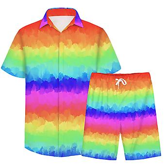 Allthemen Menăs 3D Gradual Colorful 2-Pcs Shirt&Shorts