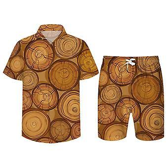 Allthemen Menăs 3D Tree Stump Suits 2-Pcs Shirt&Shorts