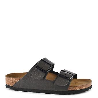 Birkenstock Arizona Pull Up Anthracite Two Strap Sandals