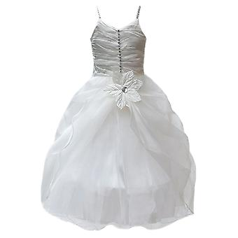 Ivoor bloemenmeisje jurken, gegolfde doop jurk