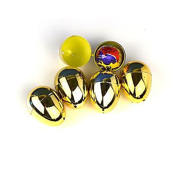 12 Ovos de Páscoa de plástico de duas partes de ouro para caça de ovos