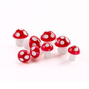8 Mini Plastic Rode en Witte Champignons voor Miniatuur Tuinambachten