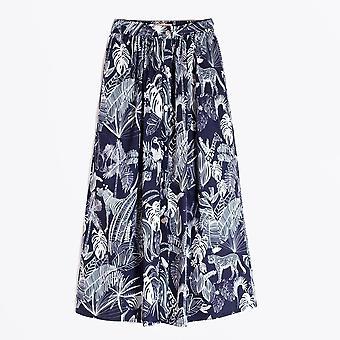 Vilagallo  - Margot Animal Print Skirt - Navy/White