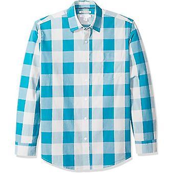 أساسيات الرجال & apos;ق العادية تناسب طويلة الأكمام عارضة قميص بوبلين, تيل بوف ...