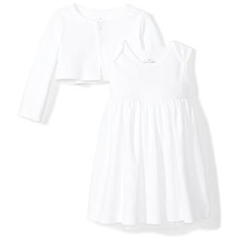 Moon and Back Baby Girls 2-Piece Organic Dress and Cardigan Set, White Cloud,...