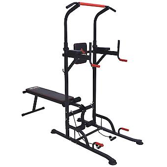 HOMCOM Multifunction Home Workout Power Tower Dip Station w/ Sit-up Bench Push-up Bars Tension Ropes Fitness Equipment Office Gym Training
