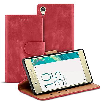 Vintage Microfiber Case for Sony Xperia X Performance TPU Fleet Card Tray Red