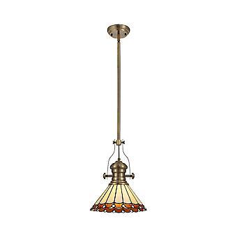 Iluminación luminosa - 1 light telescópico techo colgante E27 con 30cm Tiffany Shade, latón antiguo, ámbar, cristal