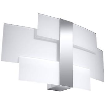 2 Light Flush Wall Light Chrome, Bianco, G9