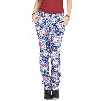 Flower Floral Print Slim Fitted Jeans