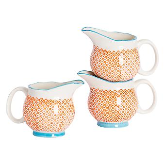 Nicola Spring 6 Piece Hand-Printed Milk Jug Set - Japanese Style Porcelain Cream Gravy Boat - Orange - 300ml