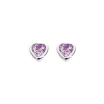 Dew Sterling Silver Dinky Amethyst Heart Stud Earrings 3035AM