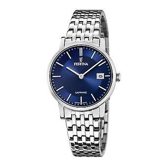 Festina Swiss F20019-2 Women's Blue Dial Silver Tone Bracelet Wristwatch