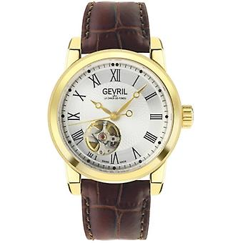 Gevril Men's 2584 Madison Swiss Automatic Silver Dial Gold IP Leder Watch