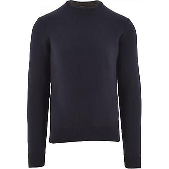 BOSS Navy Kontreal Knitted Crew Neck Sweater