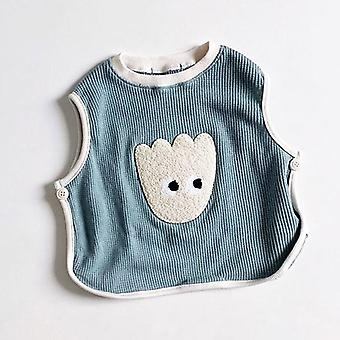 Newborn Baby Vest Cartoon Bear Print Autumn Sleeveless T-shirt For Kids Boys Girls