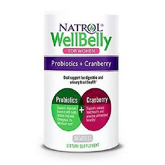 Natrol Well Belly pour femmes Probiotique + Canneberge, 30 Caps