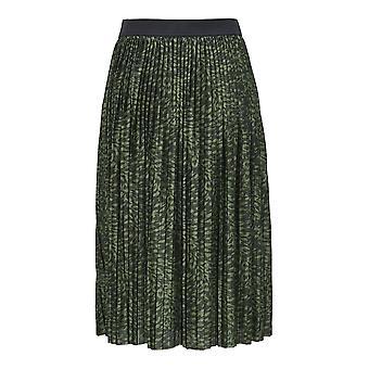 Damen Jacqueline de Yong langer Rock Plissee Stretch Bund Leo Print JDYBOA Skirt