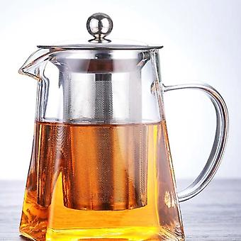 Borosilicate Square Glass Teapot With Heat Resistant And Tea Infuser Filter