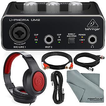 Behringer u-phoria um2 2x2 usb audioliitäntä ja lisävaruste nippu w / kuulokkeet + xpix xlr & trs kaapeli + 2rca uros kaapeli + fibertique