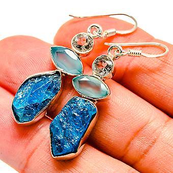 """Blue Fluorite, Aqua Chalcedony, Blue Topaz Earrings 1 3/4"""" (925 Sterling Silver)  - Handmade Boho Vintage Jewelry EARR407995"""