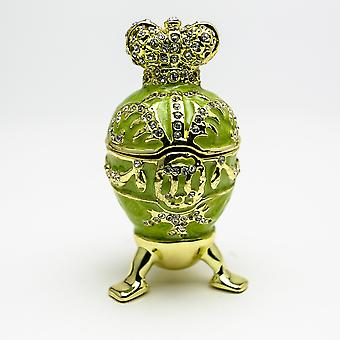 Green Faberge Egg With Heart On Top Trinket Box