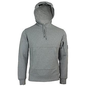 C.p. company men's grey marl diagonal raised fleece hooded sweatshirt
