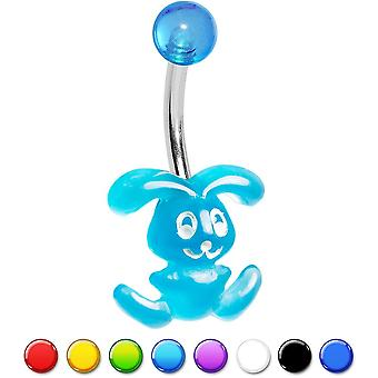 Bunny belly ring 14ga acrylic bunny 316l surgical steel  8 colors available