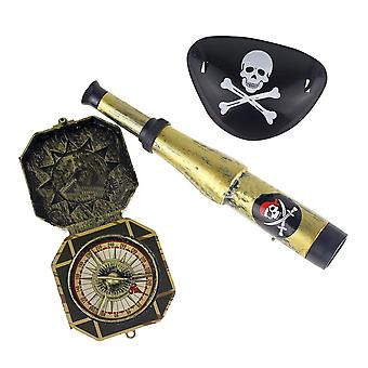 Children Kid's Plastic Pirate Patch With Skull Dress Up Prop Compass Mini