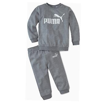 Puma Minicats Essential Crew Jogger Infant Kids Sports Tracksuit Suit Set Grey