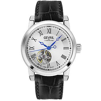 Gevril Men's Madison SS Silver Dial Black Leather