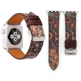 For Apple Watch Series 3 & 2 & 1 38mm Retro Flower Series Ancient Murals Pattern Wrist Watch Genuine Leather Band