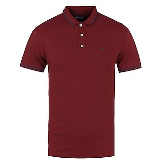Emporio Armani Red Tipped Slim Fit Short Sleeve Polo Shirt