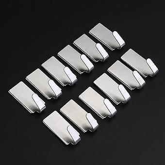 Set Of 12 Self-adhesive Hooks - Self-adhesive Stainless Steel Towel Hook Towel Rack Wall Kitchen Bathroom