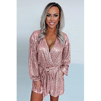 Eye-candy Sequin Pocketed Tie V Neck Long Sleeve Romper